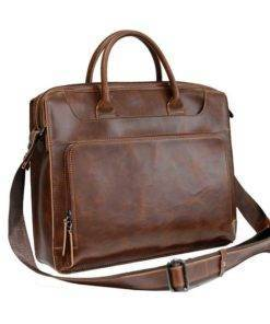 Crazy Horse Leather Men's Messenger Bag Travel Bags & Backpacks