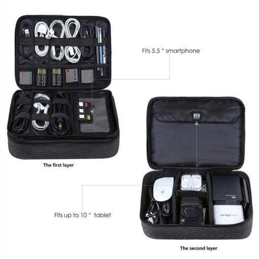 Travel organizer for cables and PC accessories